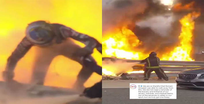 watch | f1 driver romain grosjean escapes from burning car after horror crash at bahrain gp