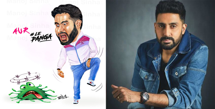 abhishek bachchan shares quirky artwork defeating coronavirus in kabaddi style