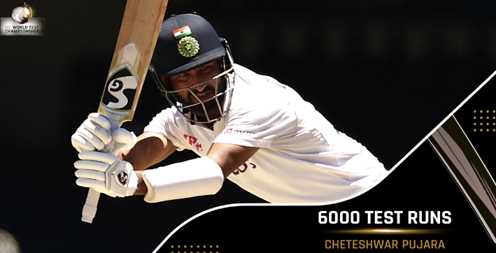 pujara becomes 11th indian batsman to reach 6000 runs in test cricket