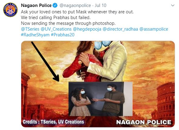 "nagaon police nails awareness and creativity with photoshopped poster of upcoming movie ""radhe shyam"""