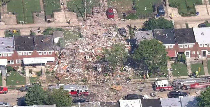 us 1 dead several injured after gas explosion levels baltimore homes