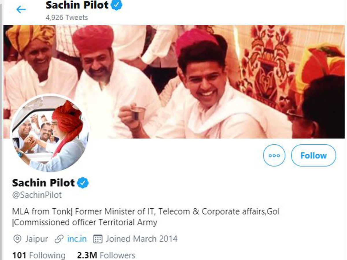 sachin pilot changes twitter bio drops congress designations