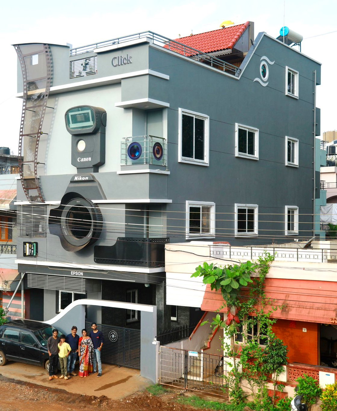 karnataka | photographer couple builds camera-shaped house names their kids nikon canon and epson