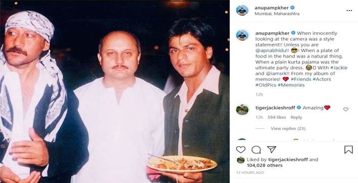 Anupam Kher shares throwback picture with Shah Rukh Khan, Jackie Shroff