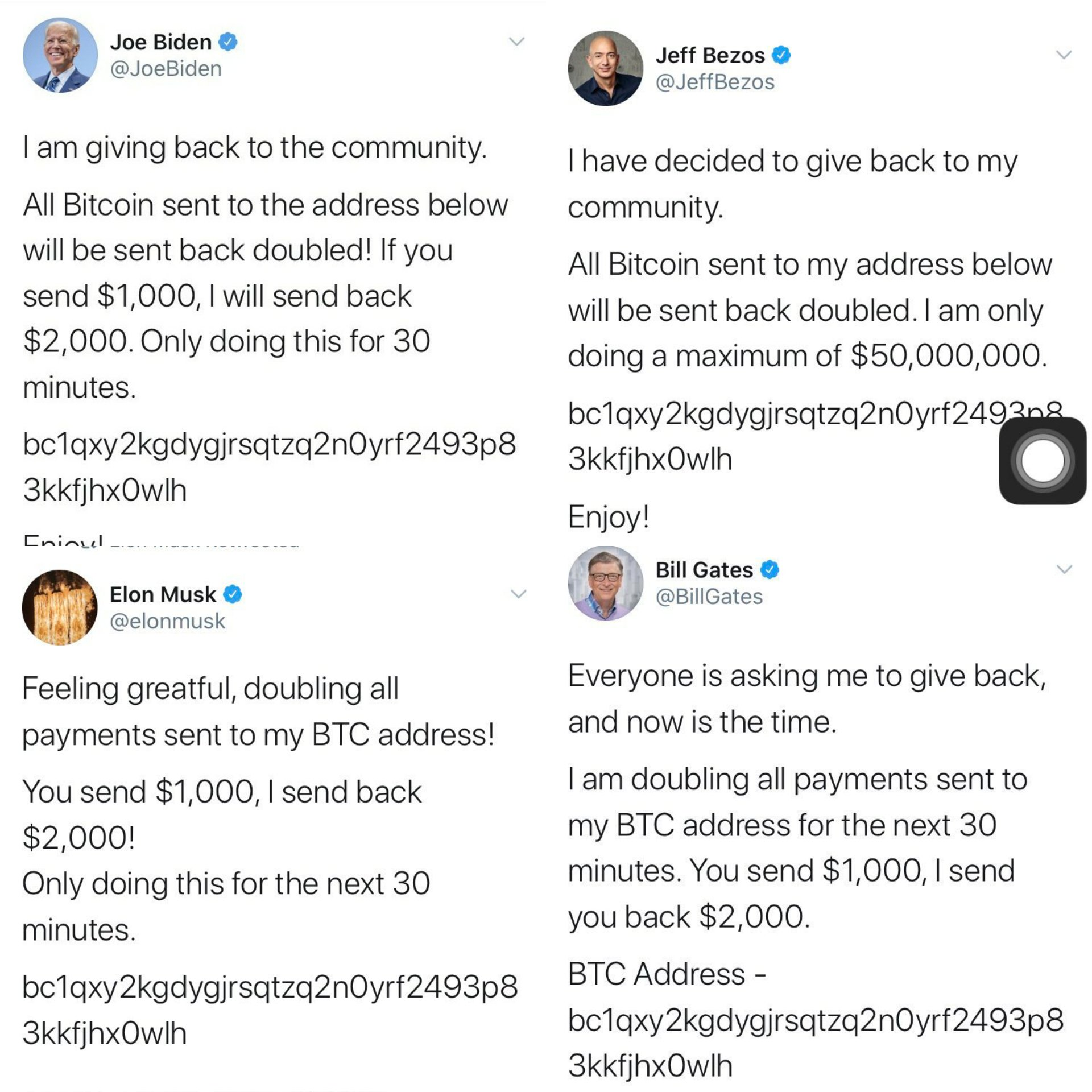 major high profile twitter accounts hacked to promote bitcoin scam