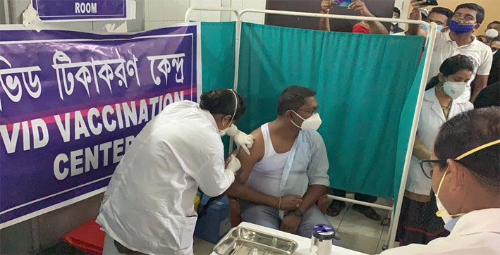 tripura begins covid vaccination drive 1399 frontline workers get shots