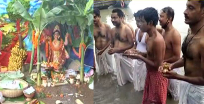 biswakarma puja mahalaya observed in city amidst pandemic