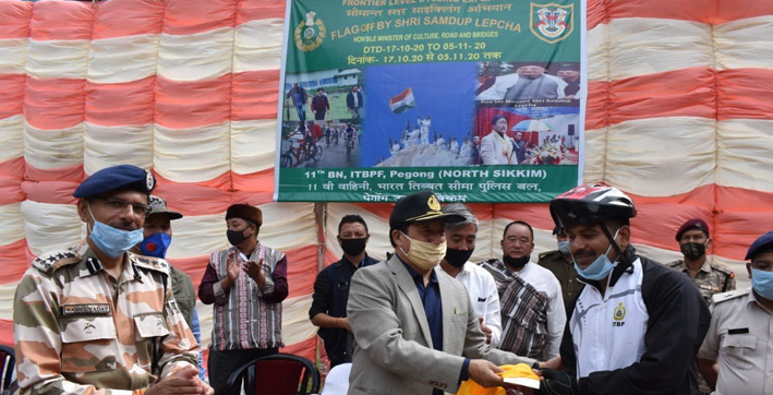 itbp launches cycling expedition from pegong base to raise covid-19 awareness