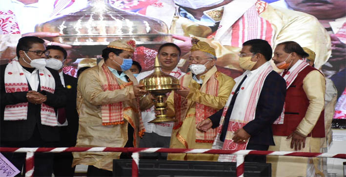 cm sonowal presents siu-ka-pha award to noted writer yeshe dorjee thongchi