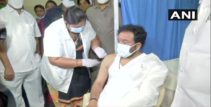 hyderabad g kishan reddy takes first dose of covid-19 vaccine at gandhi hospital