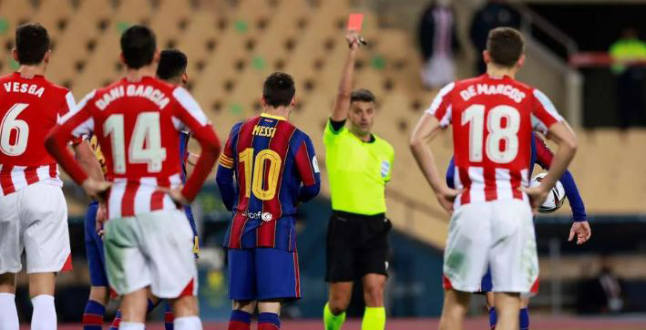 messi banned for two matches after first red card in barcelona career