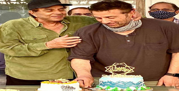 sunny deol celebrates 64th birthday with mountain themed cake