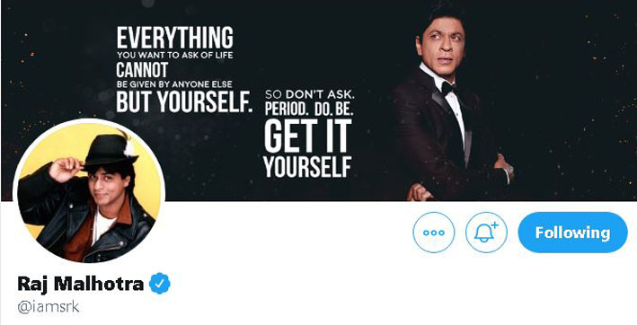 srk updates his twitter profile to raj malhotra