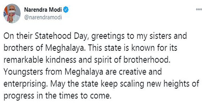 pm wishes people of meghalaya manipur and tripura on their statehood day