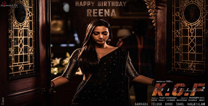 kgf chapter 2 heroine srinidhi shetty's look as reena revealed on her birthday