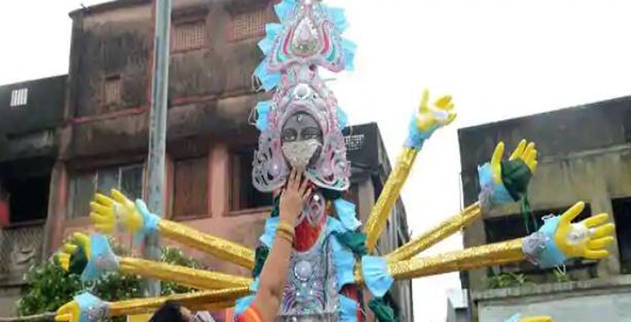idols of gods goddesses to have silver masks for covid-19 awareness in west bengal