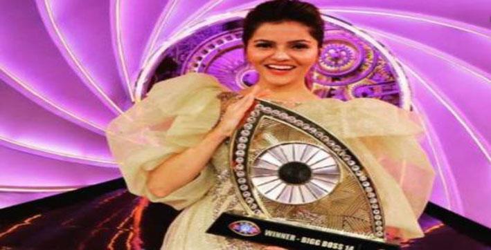 rubina dilaik wins bigg boss 14 show lifts trophy