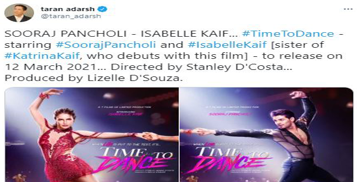 sooraj pancholi isabelle kaif starrer time to dance to release on march 12