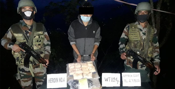heroin worth rs 47 lakh seized by assam rifles in mizoram