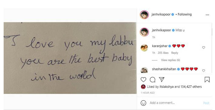 janhvi kapoor shares handwritten note on mother sridevis third death anniversary