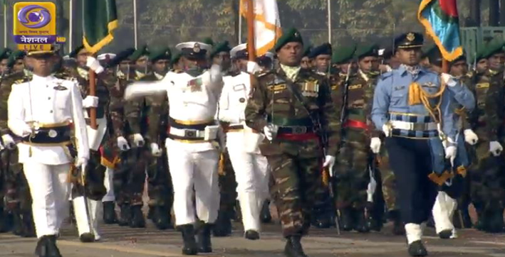 in a first bangladesh tri-service contingent takes part in indias republic day parade