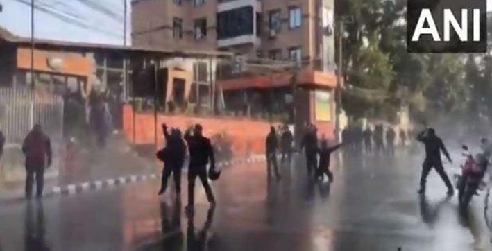 nepal political crisis police protestors clash near pm residence