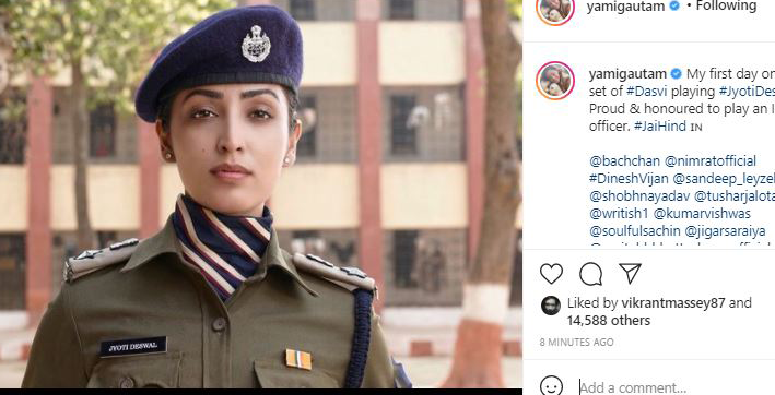 yami gautam shares glimpse from first day of shooting for dasvi