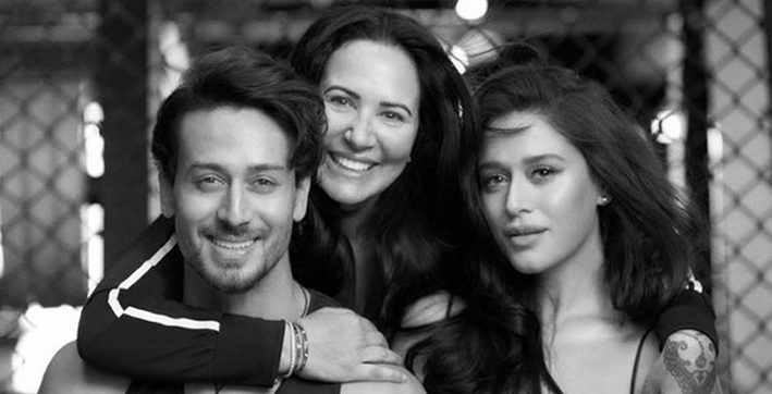 tiger shroff poses with fam in latest monochrome picture