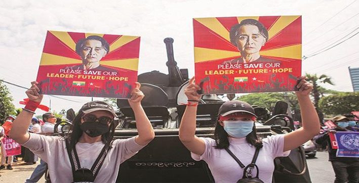 scores arrested as myanmar police disperse anti-coup rally in yangon