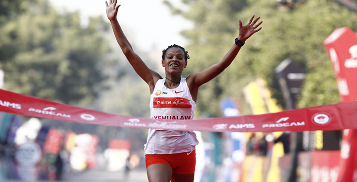 ethiopias yehualaw runs second fastest womens half marathon at adhm