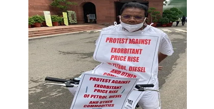 congress-mp-ripun-bora-rides-bicycle-to-parliament-in-support-of-farmers-protest